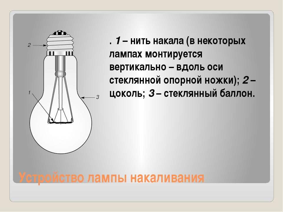 Устройство лампы накаливания . 1 – нить накала (в некоторых лампах монтируетс...