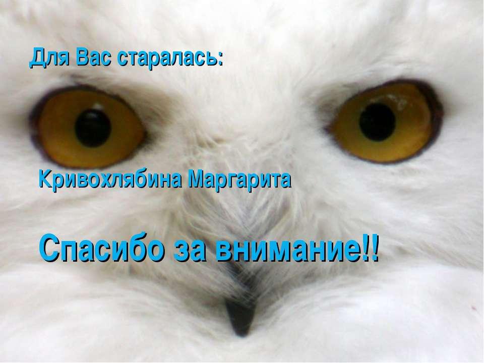 Для Вас старалась: Кривохлябина Маргарита Спасибо за внимание!!