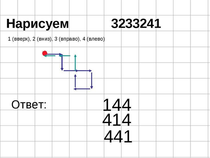 Нарисуем 3233241 1 (вверх), 2 (вниз), 3 (вправо), 4 (влево) 144 Ответ: 414 441