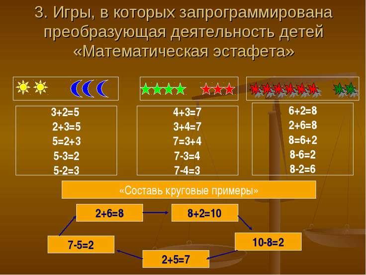 3. Игры, в которых запрограммирована преобразующая деятельность детей «Матема...
