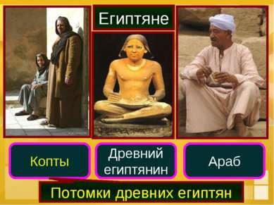 Египтяне Древний египтянин Араб Копты Потомки древних египтян