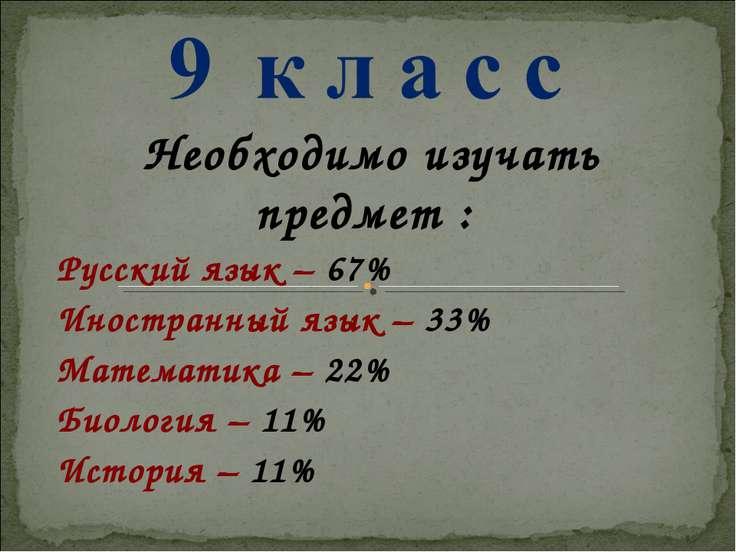 Необходимо изучать предмет : Русский язык – 67% Иностранный язык – 33% Матема...