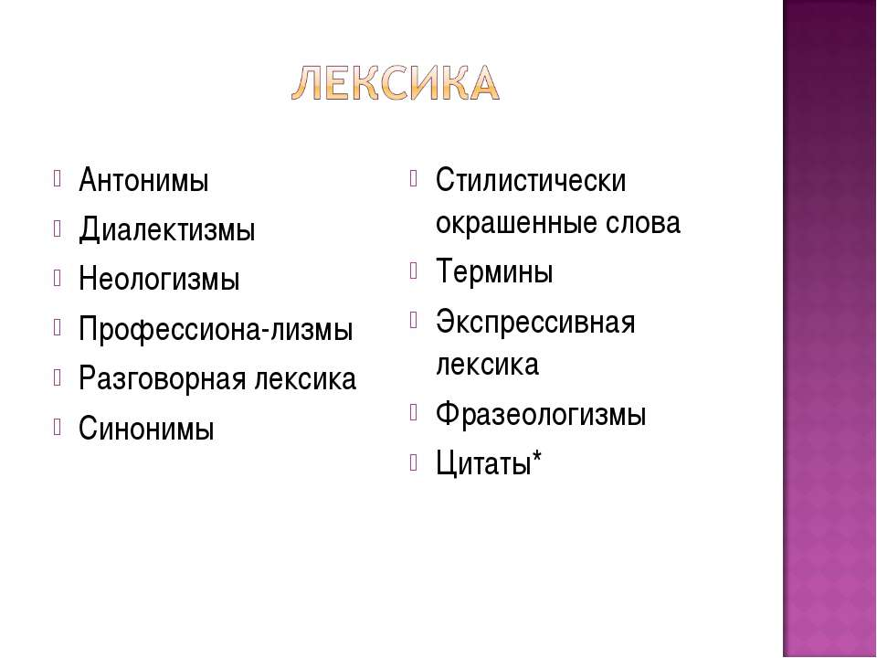 Антонимы Диалектизмы Неологизмы Профессиона-лизмы Разговорная лексика Синоним...