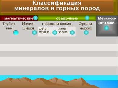 магматические осадочные Метамор-фические Глубин-ные Излив-шиеся неорганически...