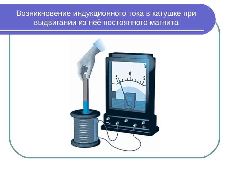 Возникновение индукционного тока в катушке при выдвигании из неё постоянного ...