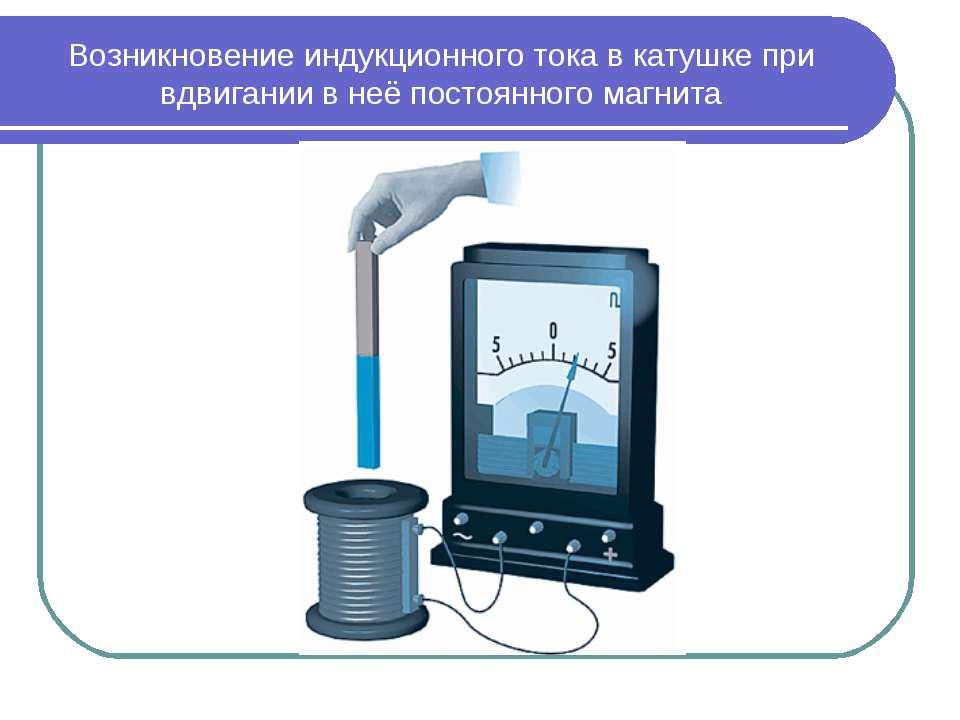 Возникновение индукционного тока в катушке при вдвигании в неё постоянного ма...