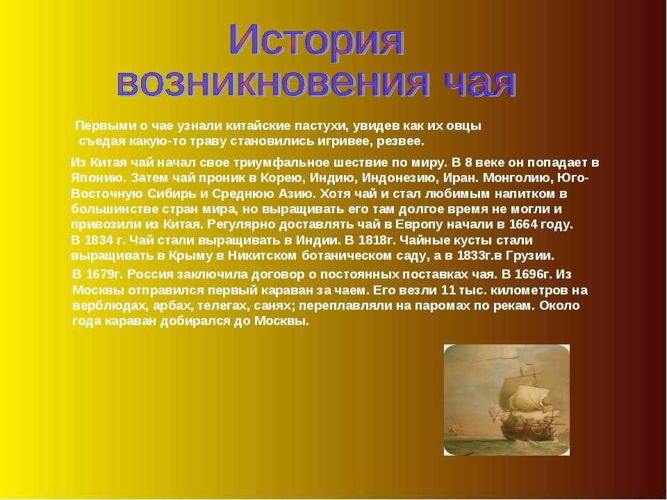 Об истории возникновения чая