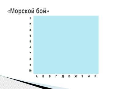 «Морской бой» 1 2 3 4 5 6 7 8 9 10 А Б В Г Д Е Ж З И К