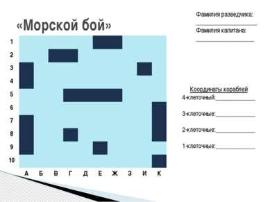 «Морской бой» Координаты кораблей 4-клеточный:_____________ 3-клеточные:_____...