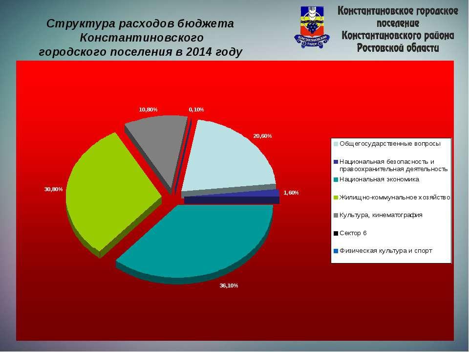 Структура расходов бюджета Константиновского городского поселения в 2014 году
