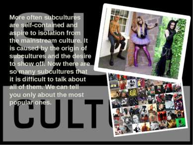 More often subcultures are self-contained and aspire to isolation from the ma...
