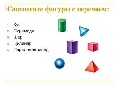 Соотнесите фигуры с перечнем: Куб Пирамида Шар Цилиндр Параллелепипед