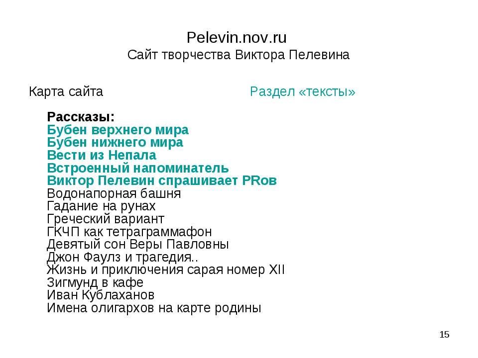 * Pelevin.nov.ru Сайт творчества Виктора Пелевина Карта сайта Раздел «тексты»...