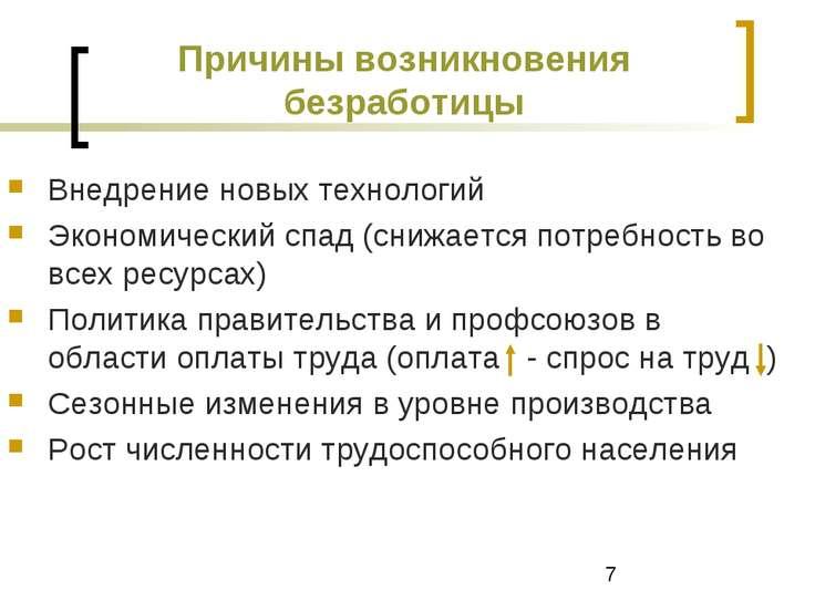 Причины возникновения безработицы Внедрение новых технологий Экономический сп...