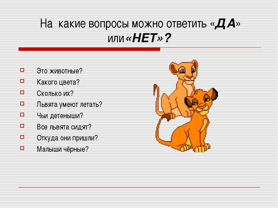 На какие вопросы можно ответить «ДА» или«НЕТ»? Это животные? Какого цвета? Ск...