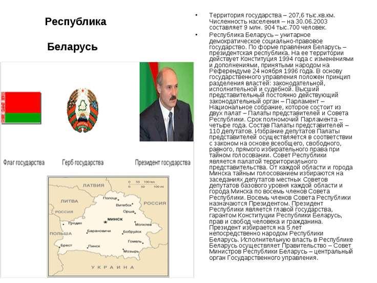 Республика Беларусь Территория государства – 207,6 тыс.кв.км. Численность нас...