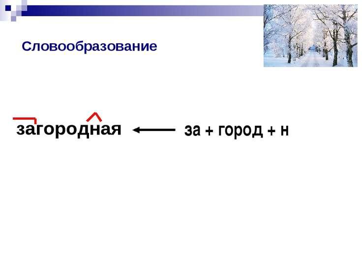 Словообразование загородная за + город + н