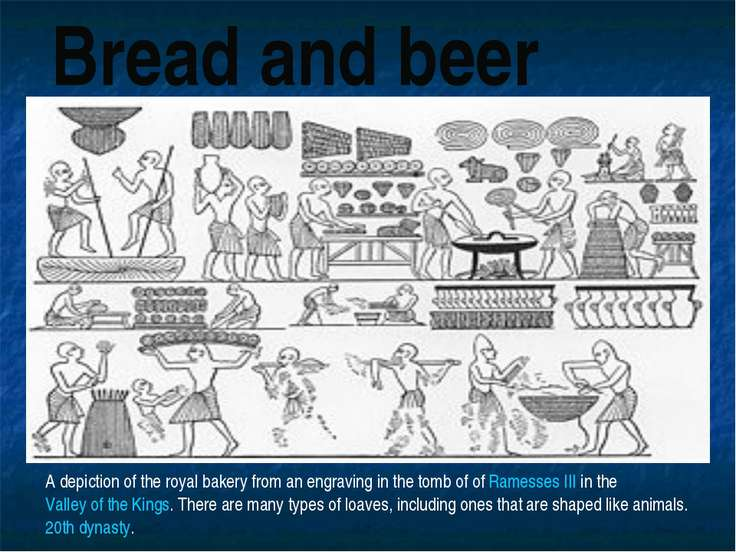 Bread and beer A depiction of the royal bakery from an engraving in the tomb ...