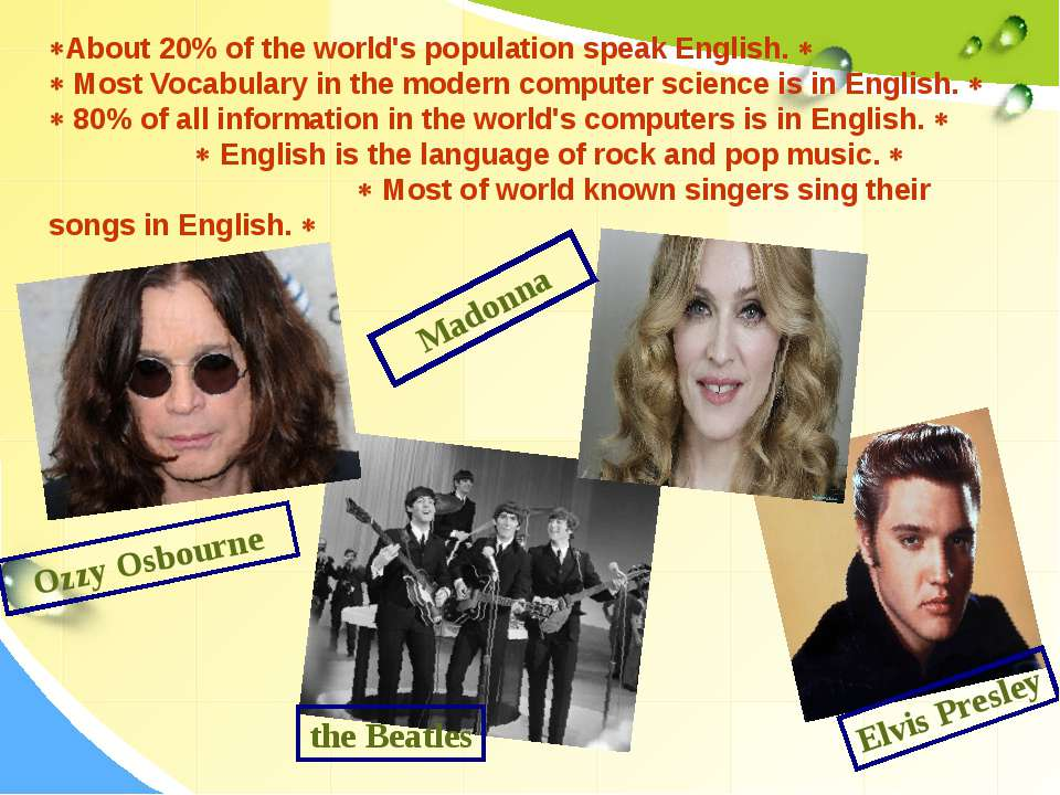 About 20% of the world's population speak English. Most Vocabulary in the mod...