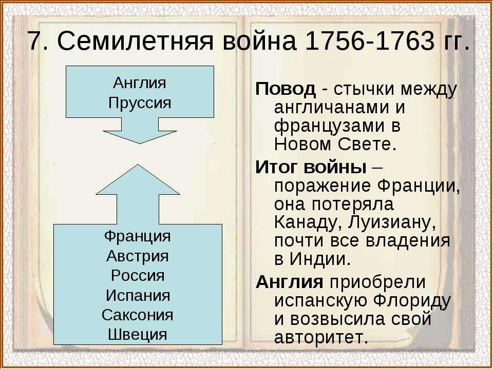 7. Семилетняя война 1756-1763 гг. Повод - стычки между англичанами и француза...