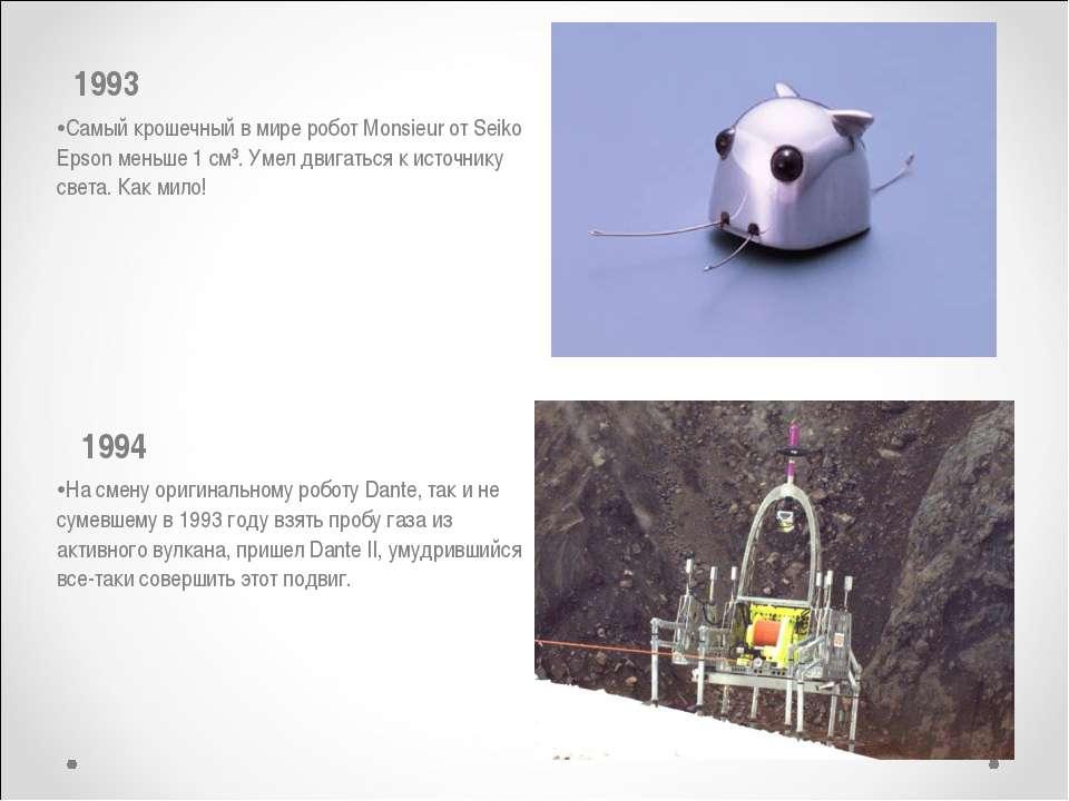 1993 Самый крошечный в мире робот Monsieur от Seiko Epsonменьше 1 см³. Умел...