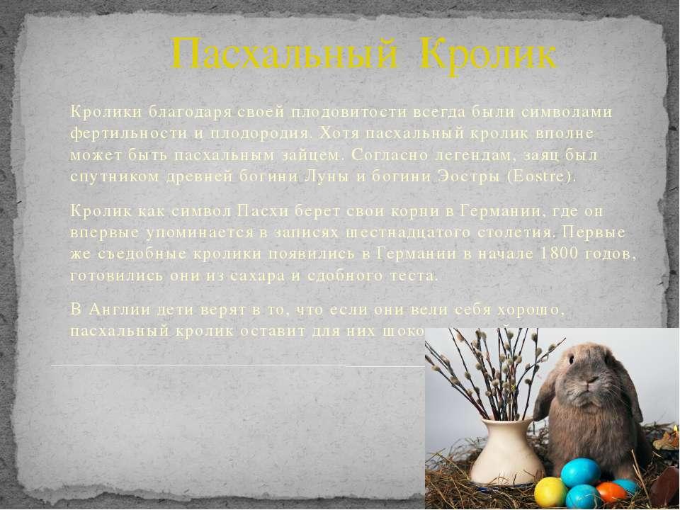 Пасхальный Кролик Кролики благодаря своей плодовитости всегда были символами ...