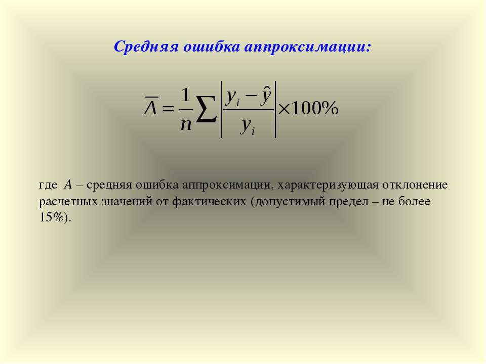 Средняя ошибка аппроксимации: где А – средняя ошибка аппроксимации, характери...