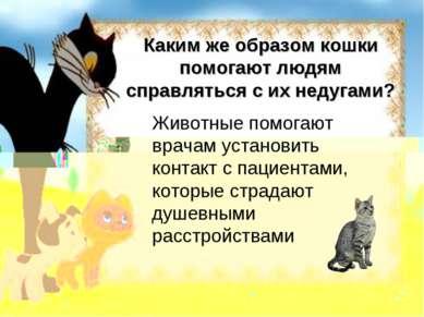 Каким же образом кошки помогают людям справляться с их недугами? Животные пом...