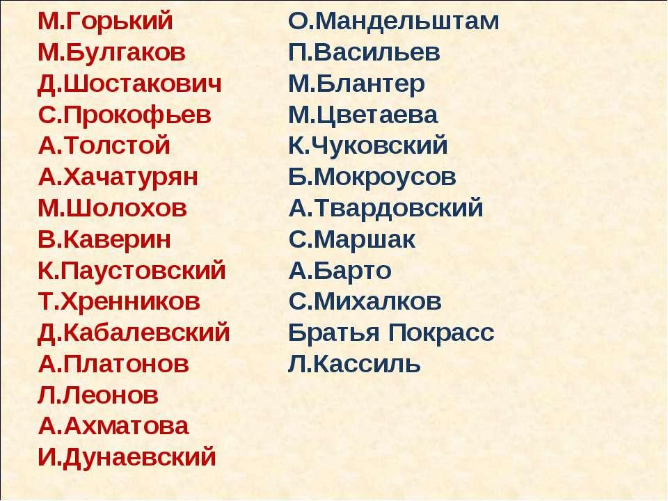 М.Горький М.Булгаков Д.Шостакович С.Прокофьев А.Толстой А.Хачатурян М.Шолохов...