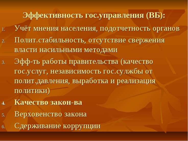 Эффективность гос.управления (ВБ): Учёт мнения населения, подотчетность орган...