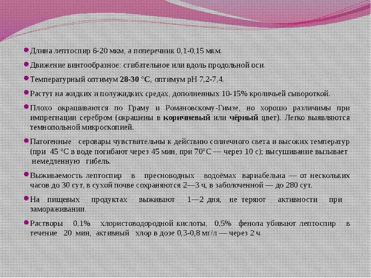 Длина лептоспир 6-20 мкм, а поперечник 0,1-0,15 мкм. Движение винтообразное: ...