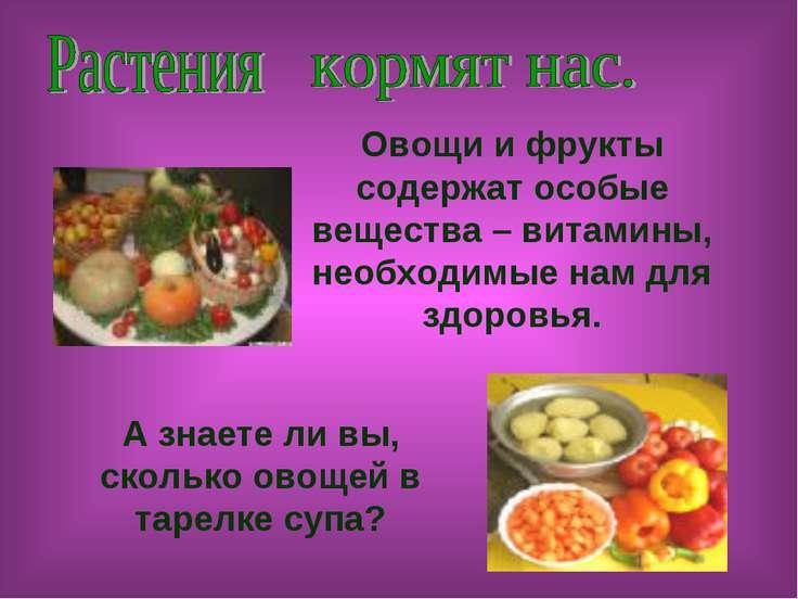 Овощи и фрукты содержат особые вещества – витамины, необходимые нам для здоро...