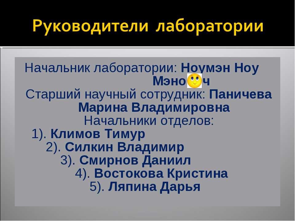 Начальник лаборатории: Ноумэн Ноу Мэнович Старший научный сотрудник: Паничева...
