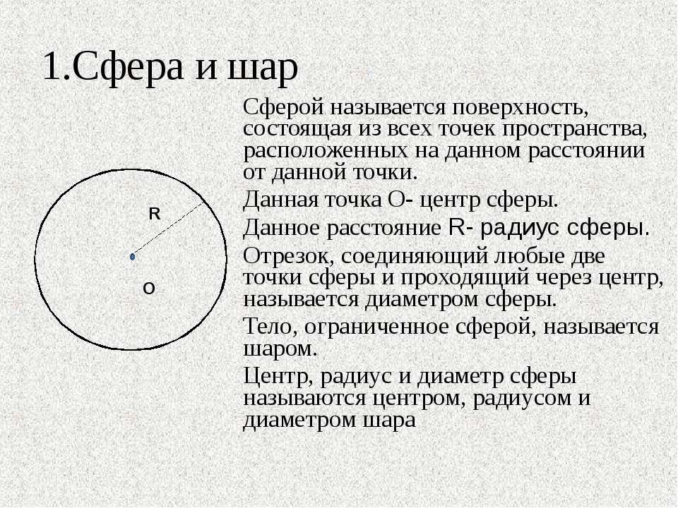 1.Сфера и шар Сферой называется поверхность, состоящая из всех точек простран...