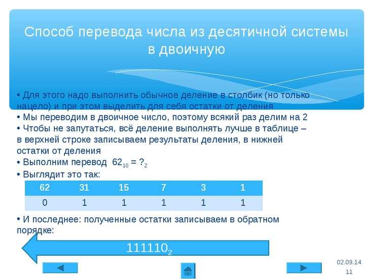* Способ перевода числа из десятичной системы в двоичную Для этого надо выпол...