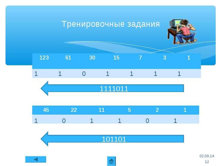 * Тренировочные задания 101101 * Способ перевода числа из десятичной системы ...