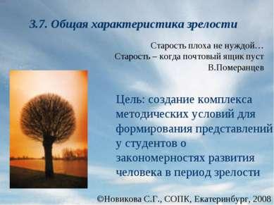 Новикова С.Г., СОПК, Екатеринбург, 2008 3.7. Общая характеристика зрелости Це...
