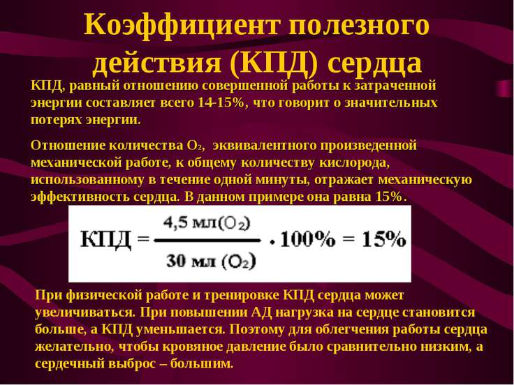 Коэффициент полезного действия (КПД) сердца КПД, равный отношению совершенной...