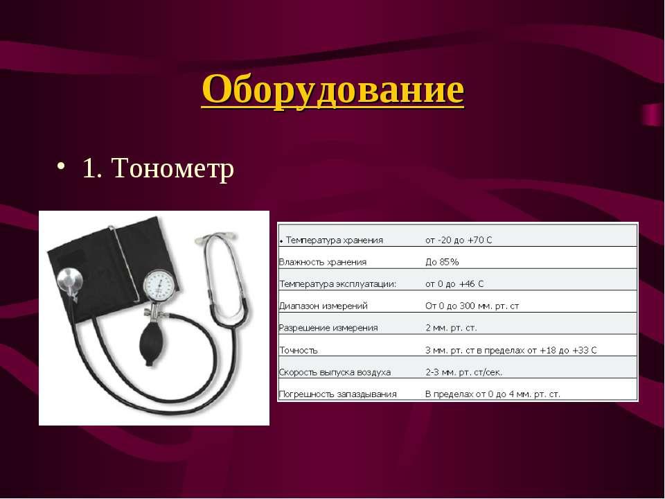 Оборудование 1. Тонометр
