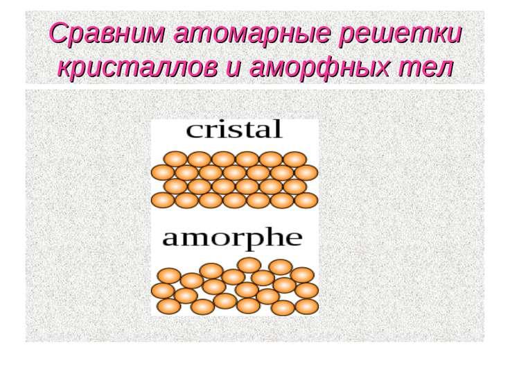 Сравним атомарные решетки кристаллов и аморфных тел