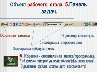 Объект рабочего стола: 5.Панель задач.