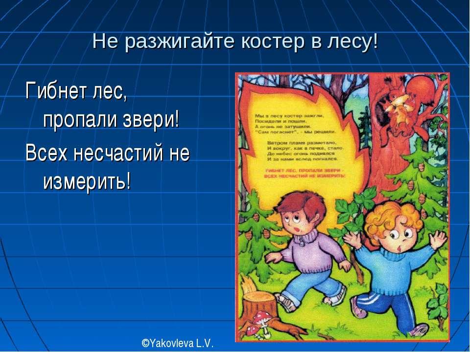 Не разжигайте костер в лесу! Гибнет лес, пропали звери! Всех несчастий не изм...
