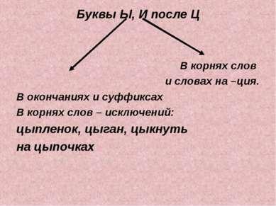 Буквы Ы, И после Ц В корнях слов и словах на –ция. В окончаниях и суффиксах В...