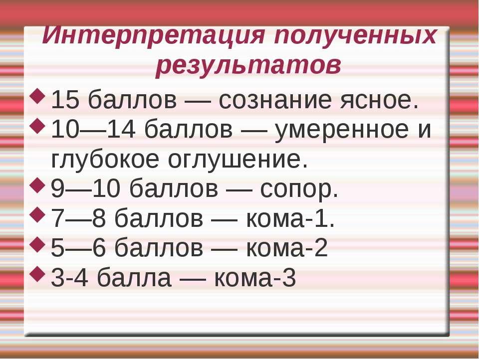 Интерпретация полученных результатов 15 баллов — сознание ясное. 10—14 баллов...