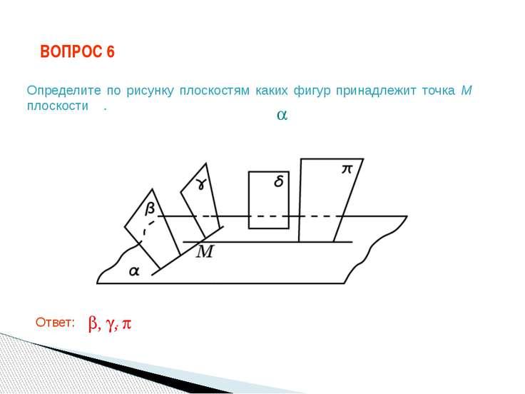 ВОПРОС 6 Ответ: . Определите по рисунку плоскостям каких фигур принадлежит то...