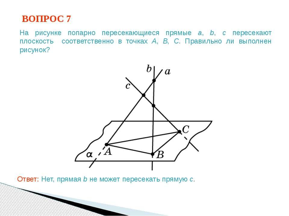 ВОПРОС 7 Ответ: Нет, прямая b не может пересекать прямую c. На рисунке попарн...