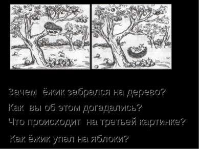 Зачем ёжик забрался на дерево? Как вы об этом догадались? Что происходит на т...