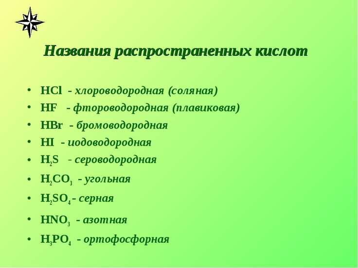 Названия распространенных кислот HCl - хлороводородная (соляная) HF - фторово...