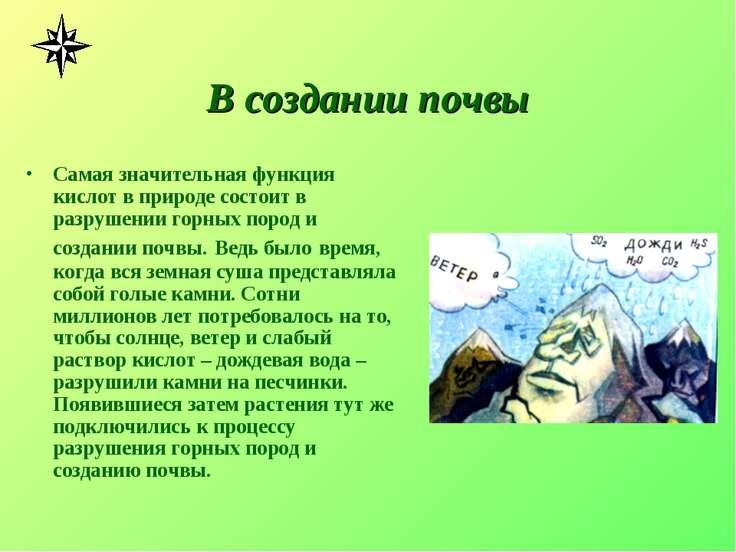 В создании почвы Самая значительная функция кислот в природе состоит в разруш...