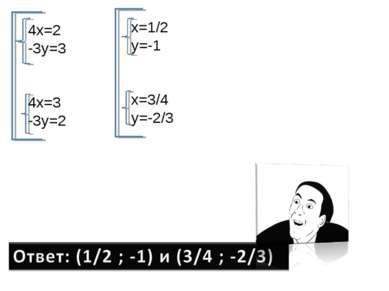 4x=2 -3y=3 4x=3 -3y=2 x=1/2 y=-1 x=3/4 y=-2/3